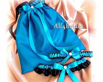 Black and Turquoise Wedding Bridal Drawstring Bag and Garter Set, Something Blue Bridal Set, Lingerie Bag