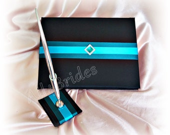 Wedding guest book in black teal and turquoise, black wedding guest book