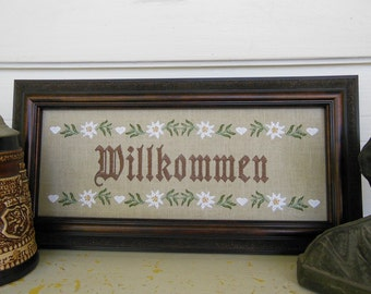 German Willkommen Deutsch Welcome Edelweiss Flowers Hearts Ciao Bon Giorno Bonjour Hola Germany 5x12 inch Frameable Embroidery