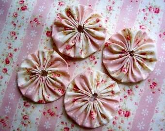 Wedding Fabric Flower 20 MARY Rose YO YO 2 Inch Quilting Barrette Headband Hair Clip Trim Applique