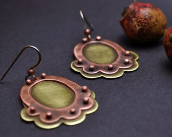 Copper and Brass Riveted Earrings from the Rosewater Collection, Oxidized Copper Earrings, Large Statement Earrings, Mixed Metal Jewelry