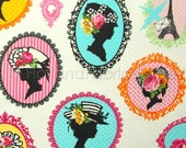 Cotton canvas fabric, kids fabric, childrens fabric, woman's silhouette fabric, extra wide fabric, Mademoiselle Fabric
