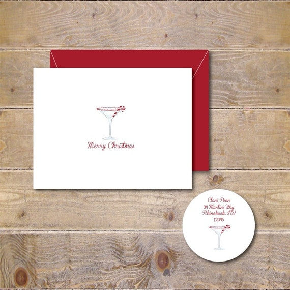 Christmas Cards . Holiday Cards . Martini Christmas Cards . Candy Cane Christmas Cards - Candy Cane Martini