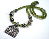 Hindu diety Hanuman * Tribal jewelry * ethnic jewelry * Tuareg beads and peridot