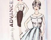 1950s Skirt Pattern Misses size 12 Boat Neckline Blouse, Full Skirt Pattern, Wiggle Skirt Vintage Sewing Pattern 50s