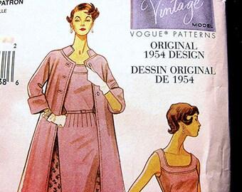 Retro 1950s Vogue Dessin Original Model Dress Pattern with Coat Misses Size 8 10 12 14 UNCUT Sewing Pattern