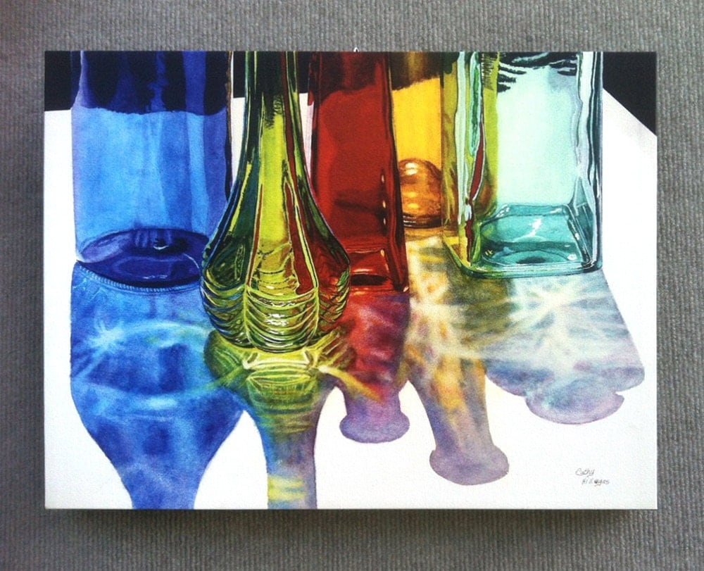 glass bottles watercolor painting print on canvas by cathy