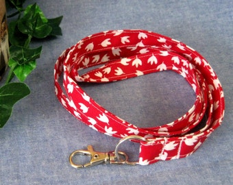 Fabric Lanyard ID and Badge and Key Holder, Gadget Strap, Handmade with Swivel Clip and Split Ring, Cherry Red and White Flowers, Lies Flat