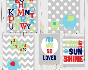 Elephant Alphabet Number Word Nursery Art Print Set Baby Boy Room Decor