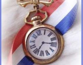 Vintage Metal Pocket Watch Pin Toy for Teddy Bear or Doll