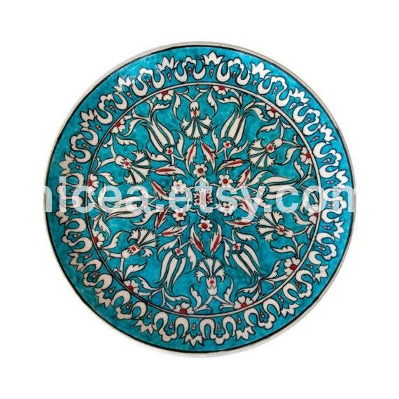 Turquoise Rimless Iznik Pottery Dish- Tulips and Carnations-Handmade-Home Decor