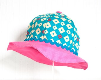 TEAL DIAMONDS baby girls handmade with japanese fabric sun hat