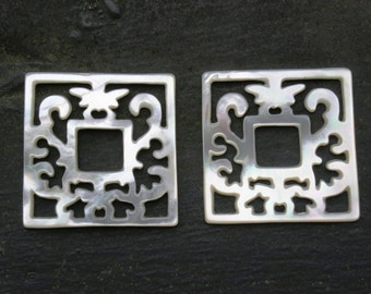 "Pair South Sea Square Cutout Carvings 1 3/16"" 30mm Chandelier Earrings Mother of Pearl"