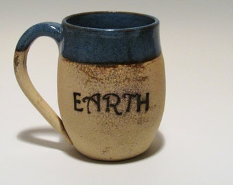 Ceramic Mug - Coffee Mug - Blue and Bare clay - eARTh Quote - Handmade Mug - Wheel Thrown Mug - Stoneware Mug - Pottery Mug
