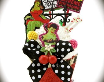 "Zombie Pin Up Girl Fake Cupcake Decor ""Don't Feed The Zombies! Pin Up Collection"" Rockabilly Tattoo Decor Fab Birthday Gift"