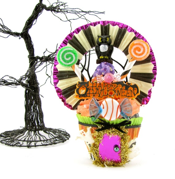 """Fake Cupcake Handmade """"Haunted Owl Funhouse Sale """" READY TO SHIP Limited Edition Collectable Unique Halloween Decor Fab Gift Idea"""