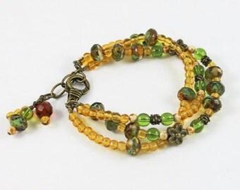 Green Topaz and Vintage Gold Beaded Triple Strand Bracelet
