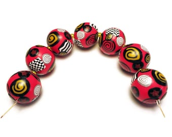 Handmade Beads Polymer Clay Set of Seven Red Yellow Black Stripes Spirals 16 mm Bead Supplies Jewelry Making Round Beads Retro Folkloric