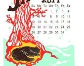 2014 Letterpress Wall Calendar