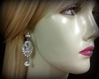 Chandelier Bridal Earrings, Gatsby Wedding Earrings, Art Deco Wedding Jewelry, Cz Bridal Jewelry, Dangle Earrings, Crystal Earrings, EMPIRE