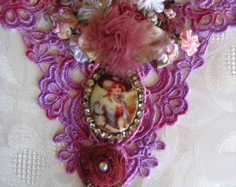 Marie Antoinette hand dyed, embellished Venise lace applique