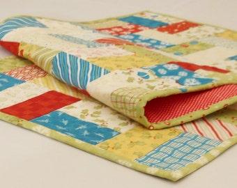 Handmade Christmas Table Runner / Table Topper / Modern / Merry & Bright/ Red / Green / Blue/  Yellow / Cream
