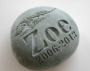 Custom Engraved Memorial Stone Pet Loss Grave Marker Feather