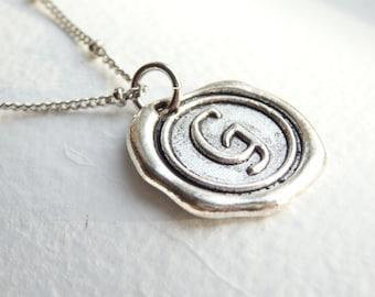 Antique Silver Wax Seal - G - Monogram Necklace