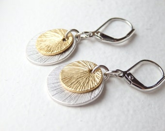 Silver and Gold Disc Earrings