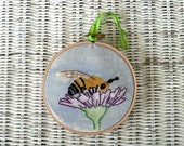 Hand Embroidered Mixed Media Hoop Art Honey Bee and Flower