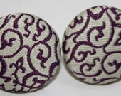 Purple and Gray Fabric Stud Earrings, Covered Buttons, Silver Backing