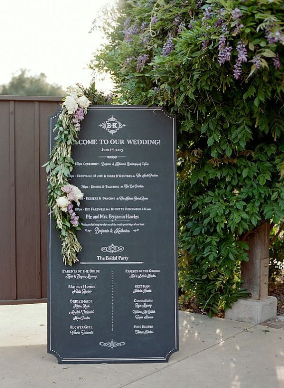 Unframed EXTRA LARGE Custom Chalk Sign. Buffet/Dinner Menu. Wedding welcome, timeline, seating chart, menu, ceremony program, escort board