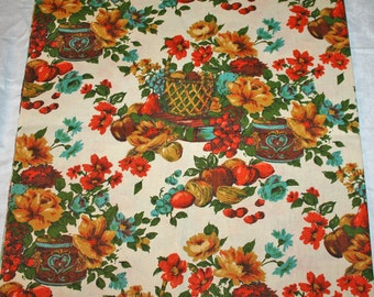 Vintage 1970s Drapery Upholstery Fabric Fruit Floral Gold Orange Brown Earth Warm Colors