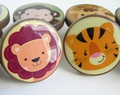 Safari Animal Knobs - Safari Animal Drawer Knobs- Jungle Animal Knobs- Lion, Elephant, Hippo, Crocodile - Wood - 1 1/2 Inches
