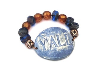 YALL Bracelet Southern girl belle charm pride saying word phrase rustic country chic style blue brown Czech glass beads