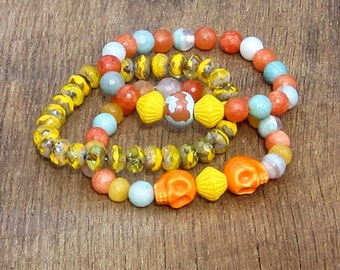 Skulls Stretch Stacking Bracelets with Czech Glass Agate & Jade Beads Set of 3 orange yellow sky blue aqua light blue pale blue rocker chic