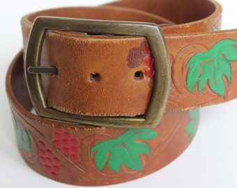 Hand Tooled and Painted Brown Leather Belt Red Berries and Leaves