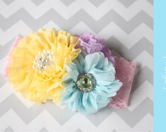 Pastel baby girl Headband { Paige } yellow, blue, lime, pink birthday, easter, rainbow unicorn cake smash spring birthday photography prop