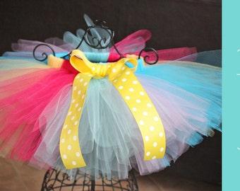 Baby tutu { Cupcake Cutie } Aqua, hot pink, yellow, Summer Beach, First Birthday, Candyland Circus  Cake, unicorn Smash photography prop