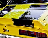 1969 Chevrolet Camaro Z28 Tribute BACK END Yellow Fine Art Print- Car Art, Antique Car, Home Decor, Nursery Decor, Wall Art, Vintage Car
