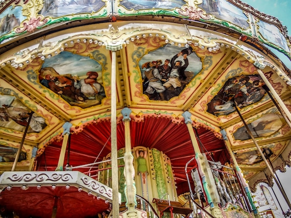Carnival Carousel Baroque Style Fine Art Print- Carnival Art, County Fair, Nursery Decor, Home Decor, Children, Baby, Kids