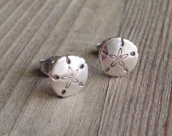 Sterling Silver Sand Dollar Stud Earrings