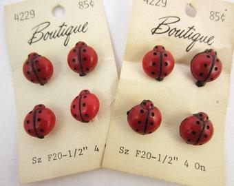 vintage buttons red ladybug original card