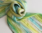 Hand Painted Silk Scarf - Handpainted Scarves Green Blue Teal Turquoise Tan Grey Gray Chartreuse Olive Lime Slate Ocean Sea Beach