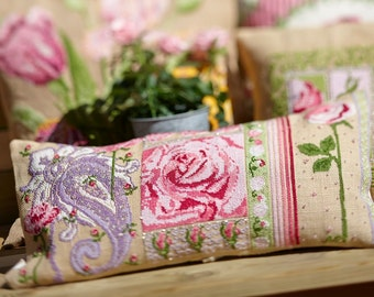 Cross stitch pattern UNIQUE - shabby chic,pretty roses,burlap pillow cover, needlepoint,cross stitch pillow,embroidery,pink,Anette Eriksson