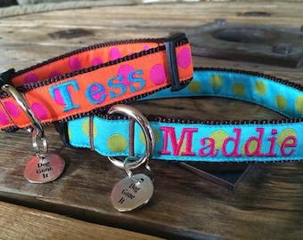 Med or Lg Dog Collar. Custom Personalized Dog Collar. Embroidered Dog Collar.