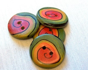 Red, Orange, Yellow and  Green Spiral Button No. 228
