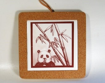 Panda Ceramic Tile Coaster Home Decor Hostess Gift
