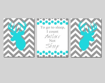 Baby Boy Nursery Art Trio - Set of Three 8x10 Prints - To Go To Sleep, I Count Antlers Not Sheep Quote, Chevron Deer - CHOOSE YOUR COLORS