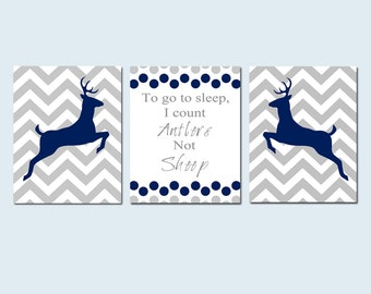 Boy DEER NURSERY Wall Art Trio - Chevron Deer To Go To Sleep I Count Antlers Not Sheep Quote - Set of 3 Prints - Choose Your Colors